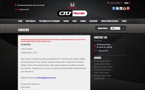 Screenshot of Jobs Page cityhonda.com - Find a career with City Honda   City Honda - captured Sept. 29, 2014