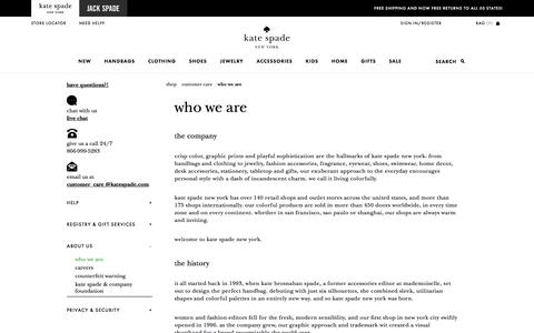 Screenshot of About Page katespade.com - who we are - captured Aug. 25, 2017