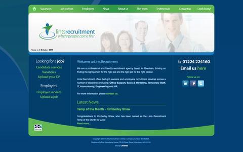 Screenshot of Home Page lintsrecruitment.com - Home - Lints Recruitment Ltd - Aberdeen Recruitment Agency - captured Oct. 2, 2014