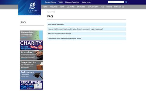 Screenshot of FAQ Page agnew.com.au - | Agnew - captured May 22, 2016
