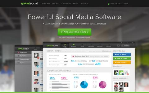 Screenshot of Home Page sproutsocial.com - Social Media Management Software | Sprout Social - captured July 11, 2014