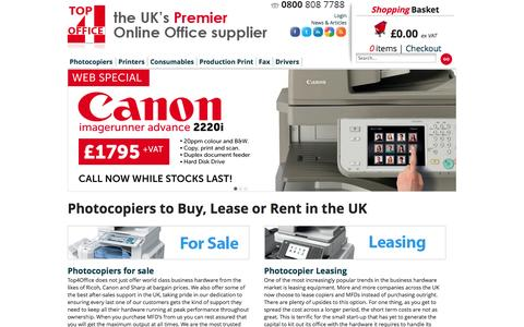 Screenshot of Home Page top4photocopiers.co.uk - Buy & Lease Office Photocopiers & MFDs in the UK - captured Oct. 7, 2014