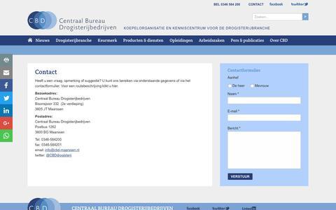 Screenshot of Contact Page drogistensite.nl - Contact -  Centraal Bureau Drogisterijbedrijven - captured Oct. 31, 2016