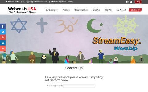 Screenshot of Contact Page webcastsusa.com - Contact  Us | WebcastsUSA - captured Dec. 3, 2016
