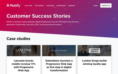Screenshot of Case Studies Page mobify.com - Case Studies | Mobify - captured May 23, 2018