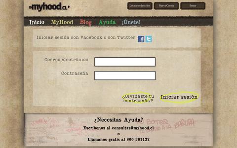 Screenshot of Login Page myhood.cl - Myhood - captured Sept. 16, 2014