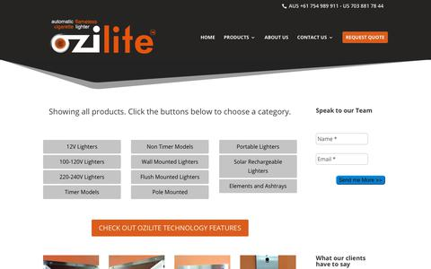 Screenshot of Products Page ozilite.com - Products – Ozilite - captured Oct. 19, 2018