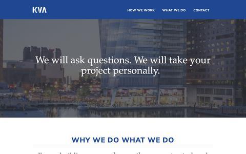 Screenshot of Home Page kvaboston.com - KVA - Beyond the Build - captured Oct. 14, 2018
