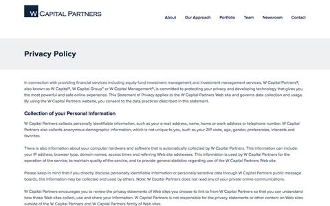 Screenshot of Privacy Page wcapgroup.com - Privacy Policy | W Capital Partners - captured Feb. 13, 2016