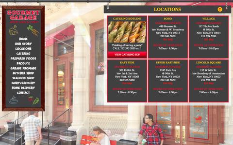 Screenshot of Locations Page gourmetgarage.com - Gourmet Garage Locations | NYC stores | Carnegie Hill | Soho | Upper East Side | Greenwich Village | Lincoln Square - captured Oct. 3, 2014