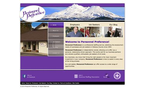 Screenshot of Home Page personnelpreference.com - Personnel Preference | Staffing Firms and Employment Agencies Weed, CA | Siskiyou County - captured Oct. 2, 2014
