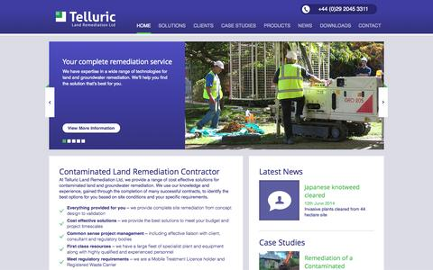 Screenshot of Home Page telluric.uk.com - Contaminated Land Remediation Contractor - captured Sept. 23, 2014