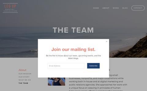 Screenshot of Team Page legupcommunications.com - The Team — Leg Up Marketing + Communications - captured July 17, 2018