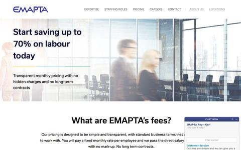 Screenshot of Pricing Page emapta.com - Outsource your Team in the Philippines - Offshore Staffing | EMAPTA - captured Aug. 20, 2018