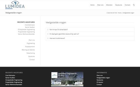 Screenshot of FAQ Page lumidea.nl - Lumidea Engineering - Detachering, Werving en Selectie |   Veelgestelde vragen - captured Feb. 2, 2016