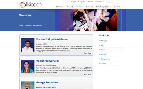 Screenshot of Team Page kalkitech.com - Kalkitech management | Kalkitech - captured Sept. 20, 2018