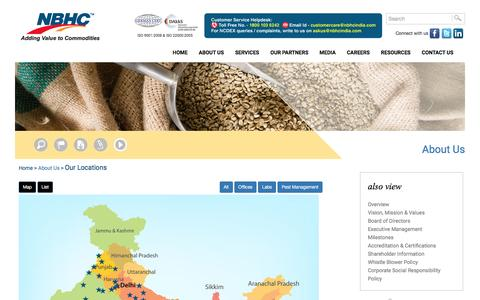 Screenshot of Locations Page nbhcindia.com - National Bulk Handling Corporation Pvt. Ltd. (NBHC) - Adding Value to Commodities :: An ISO 9001:2000 and ISO 22000:2005 Certified Company - captured Dec. 3, 2016
