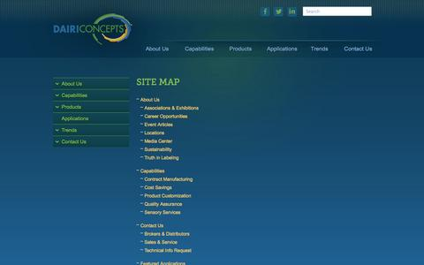 Screenshot of Site Map Page dairiconcepts.com - Sitemap - captured Sept. 30, 2014
