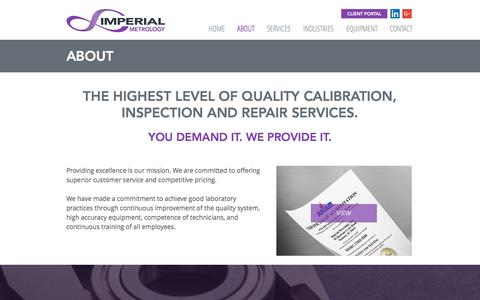 Screenshot of About Page imperialmetrology.com - Imperial Metrology | Calibration Inspection Repair - captured Oct. 14, 2017