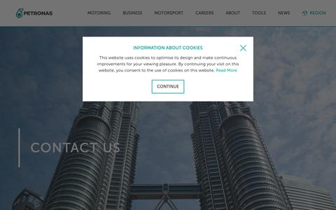 Screenshot of Contact Page pli-petronas.com - Petronas Lubricants International | Contact Petronas - captured Nov. 28, 2018