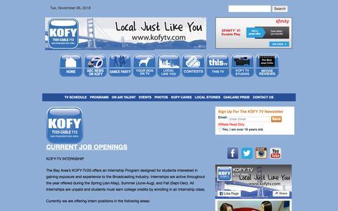 Screenshot of Jobs Page kofytv.com - Jobs | KOFY TV - captured Nov. 6, 2018