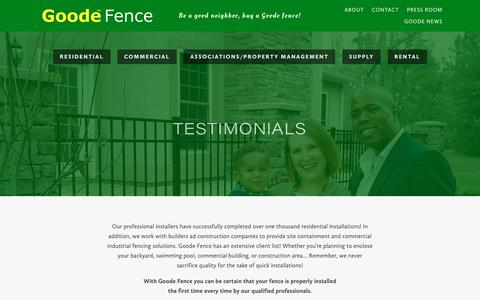 Screenshot of Testimonials Page goodefence.com - Testimonials - Myrtle Beach Fencing Contractors & Installations   GoodeFence - captured Oct. 20, 2018