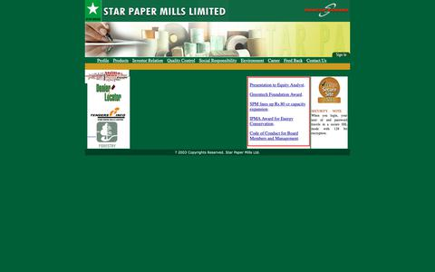 Screenshot of Home Page starpapers.com - STAR PAPER MILLS LTD ::: HOME - captured Oct. 1, 2018