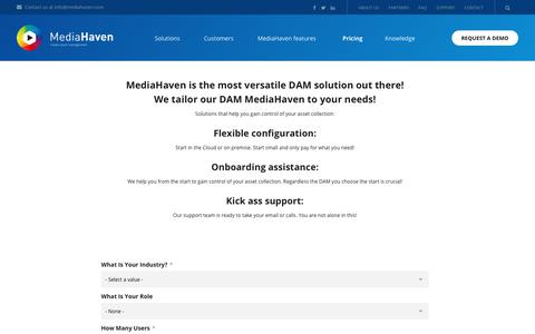 Screenshot of Pricing Page mediahaven.com - Get a quote | Mediahaven - captured Jan. 20, 2018