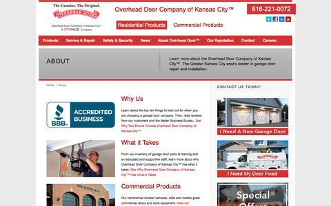Screenshot of About Page overheaddoorkansascity.com - About Garage Door Services   Overhead Door of Kansas City - captured Nov. 11, 2019