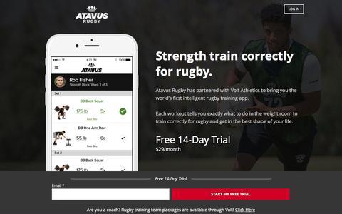 Screenshot of Landing Page voltathletics.com - Volt - The Intelligent Training App for Athletes - captured Oct. 25, 2016