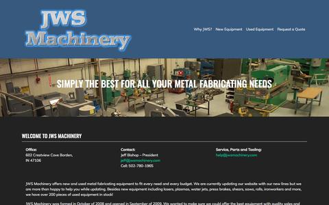 Screenshot of Home Page jwsmachinery.com - JWS Machinery | Simply the best for all your metal fabricating needs - captured Sept. 20, 2018