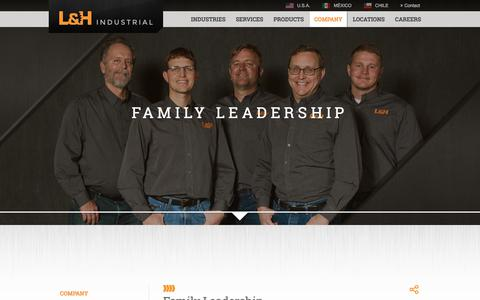 Screenshot of Team Page lnh.net - Family Leadership | L&H Industrial - captured Sept. 25, 2018