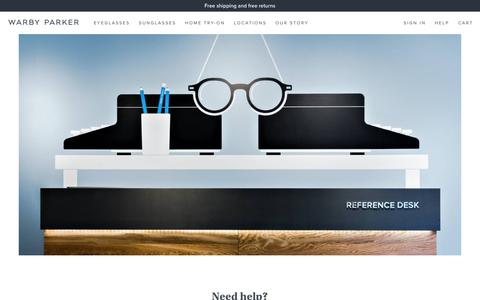 Screenshot of FAQ Page warbyparker.com - Help | Warby Parker - captured July 1, 2016