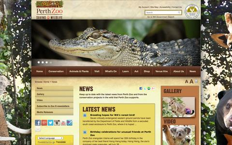Screenshot of Press Page perthzoo.wa.gov.au - News   Perth Zoo - captured Sept. 19, 2014