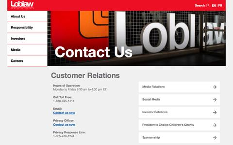 Loblaw Companies Limited - Contact Us