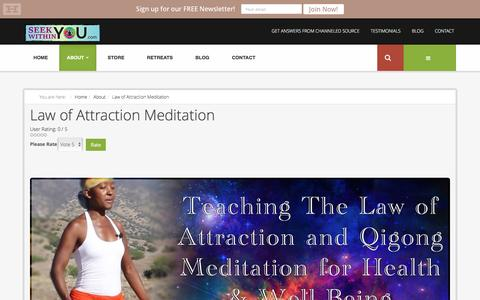 Screenshot of About Page seekwithinyou.com - Law of Attraction Meditation - captured Jan. 10, 2016