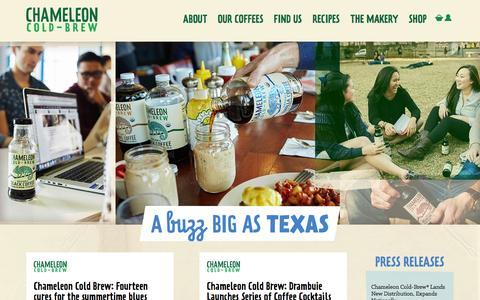 Screenshot of Press Page chameleoncoldbrew.com - Press Posts - Chameleon Cold Brew - captured July 12, 2016