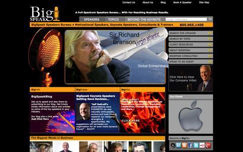 Screenshot of Home Page bigspeak.com - BigSpeak Speakers Bureau – Motivational Speakers, Keynote Speakers & Business Speakers - captured Sept. 24, 2014