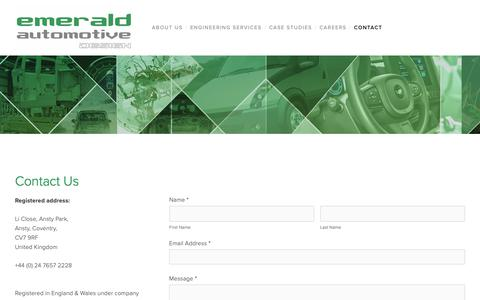 Screenshot of Contact Page emeraldautomotive.com - Contact — Emerald Automotive Design - captured Sept. 28, 2018