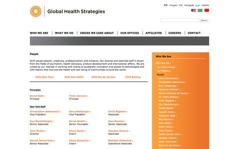 Screenshot of Team Page ghstrat.com - People | Global Health Strategies - captured Jan. 29, 2016