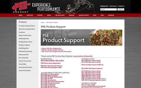 Screenshot of Support Page pse-archery.com - PSE Product Support - captured Sept. 25, 2014