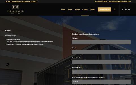 Screenshot of Jobs Page fullyloadeddeliveries.com - Careers – Fully Loaded Deliveries - captured Sept. 2, 2018