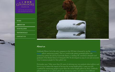 Screenshot of About Page goldilockspillows.co.uk - Goldilocks Pillows Ltd - captured Sept. 29, 2018