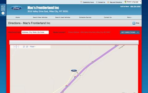 Screenshot of Maps & Directions Page macsford.com - Directions at Mac's Frontierland Inc - Your Miles City, Montana Ford dealer - captured June 21, 2016