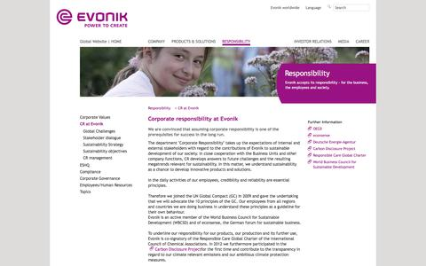 Evonik Industries - Specialty chemicals - Corporate responsibility at Evonik - Evonik Industries - Specialty Chemicals