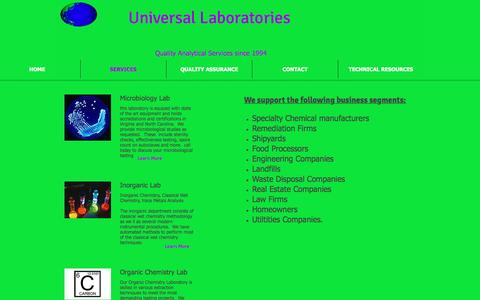 Screenshot of Services Page universallaboratories.net - Analytical and Field Services - captured May 11, 2017