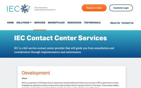 Screenshot of Services Page the-iec.com - Contact Center Services - Development and Support   IEC - captured Nov. 26, 2016