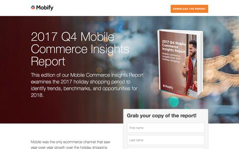 Screenshot of Landing Page mobify.com - Benchmarks Report: 2017 Q4 Mobile Commerce Insights - captured March 1, 2018