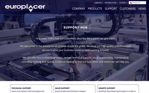 Screenshot of Support Page europlacer.com - Support Europlacer - captured Feb. 7, 2016