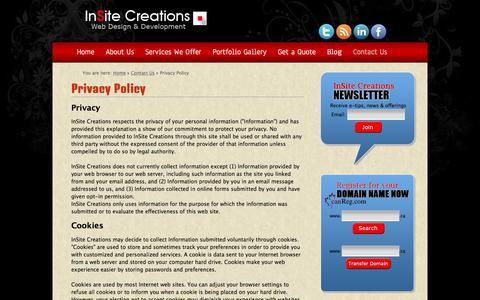 Screenshot of Privacy Page onlinesitedevelopment.com - Privacy Policy :: InSite Creations Toronto Web Design & Development - captured Oct. 15, 2017
